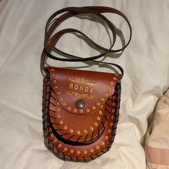 Mini leather tooled crossbody